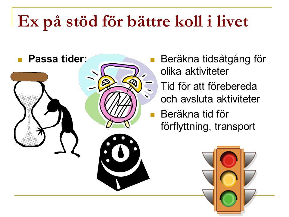 Ex på stöd för bättre koll i livet  Passa tider:  Beräkna tidsåtgång för olika aktiviteter  Tid för att förebereda och avsluta aktiviteter  Beräkn
