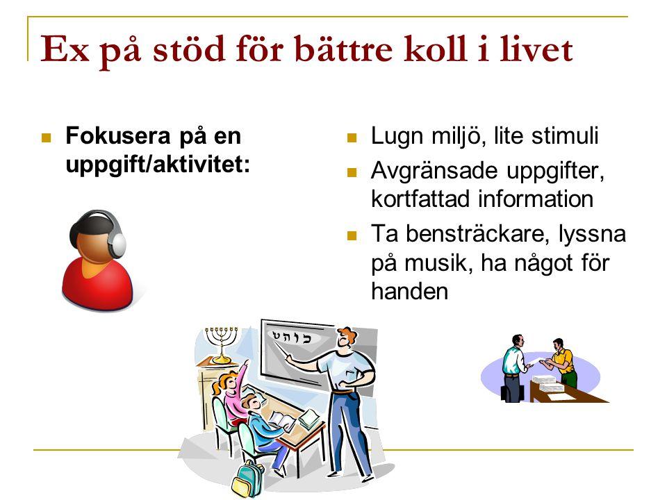 Ex på stöd för bättre koll i livet  Fokusera på en uppgift/aktivitet:  Lugn miljö, lite stimuli  Avgränsade uppgifter, kortfattad information  Ta