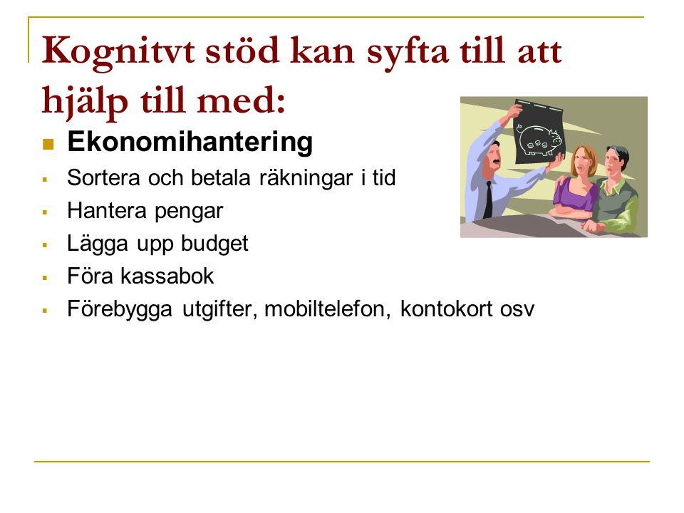 Kognitvt stöd kan syfta till att hjälp till med:  Ekonomihantering  Sortera och betala räkningar i tid  Hantera pengar  Lägga upp budget  Föra ka