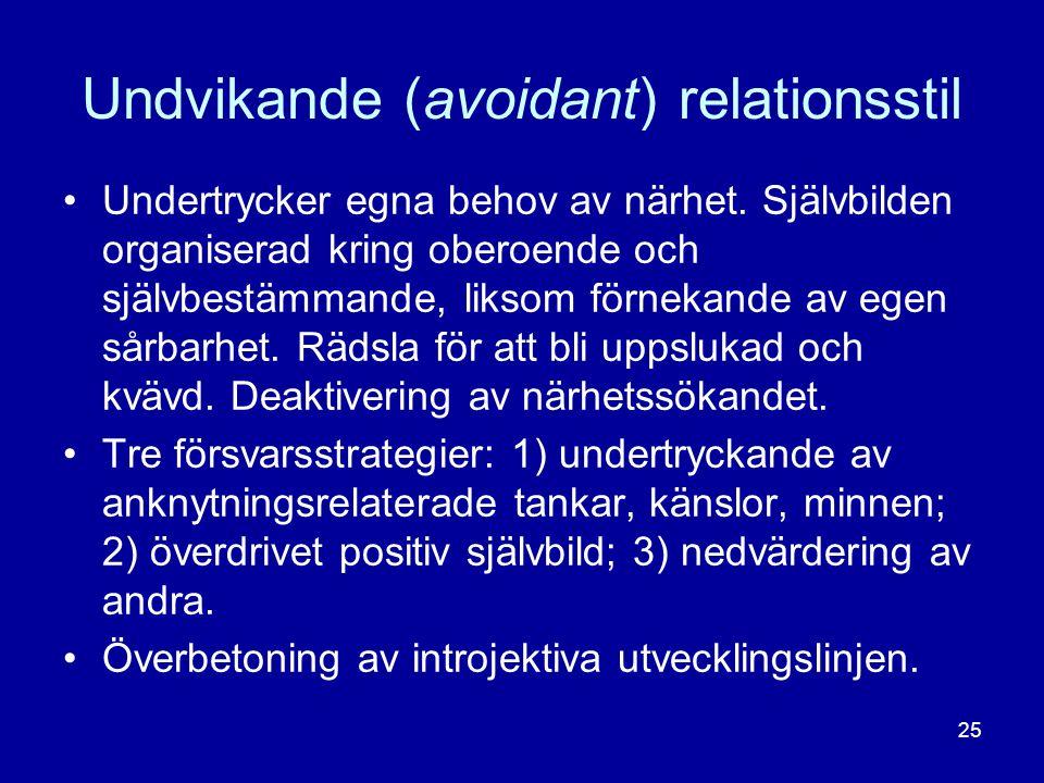 Undvikande (avoidant) relationsstil •Undertrycker egna behov av närhet. Självbilden organiserad kring oberoende och självbestämmande, liksom förnekand