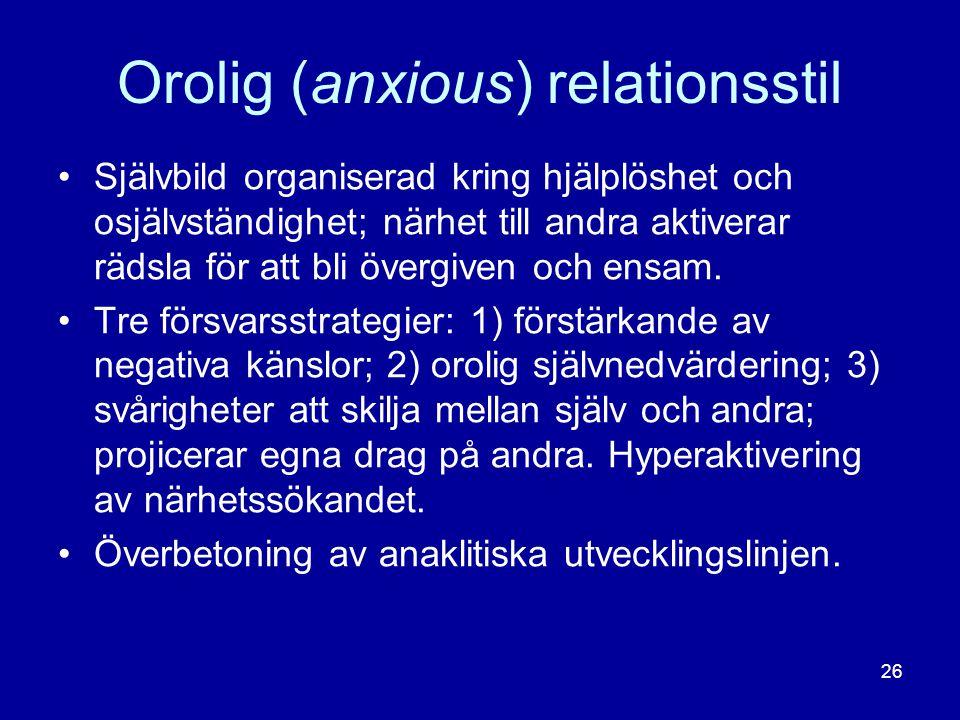 Orolig (anxious) relationsstil •Självbild organiserad kring hjälplöshet och osjälvständighet; närhet till andra aktiverar rädsla för att bli övergiven