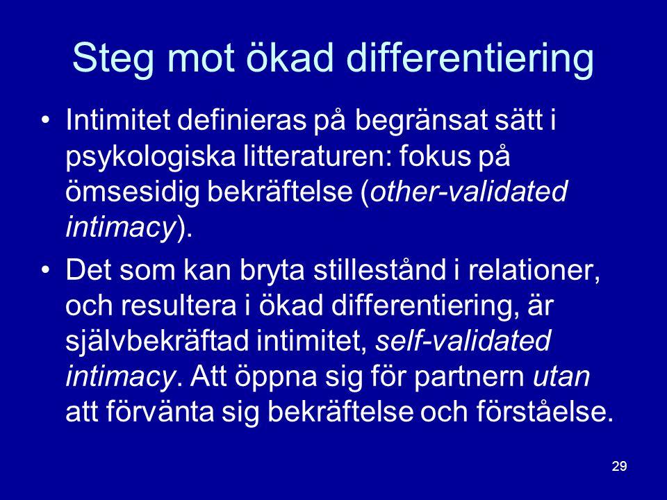 Steg mot ökad differentiering •Intimitet definieras på begränsat sätt i psykologiska litteraturen: fokus på ömsesidig bekräftelse (other-validated int