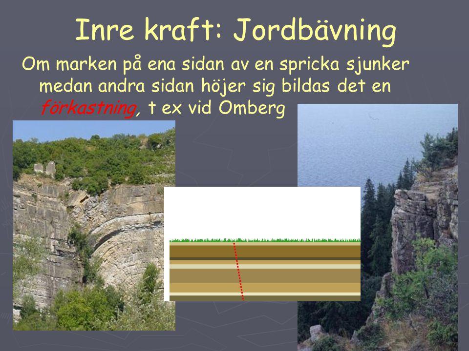 Inre kraft: Jordbävning Om marken på ena sidan av en spricka sjunker medan andra sidan höjer sig bildas det en förkastning, t ex vid Omberg