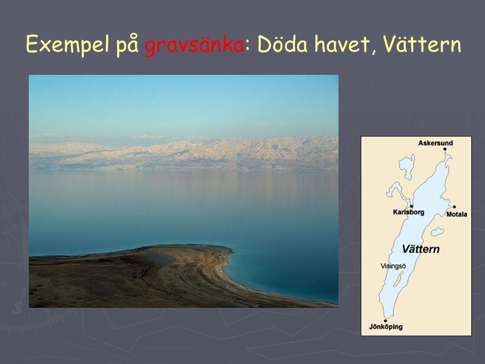 Exempel på gravsänka: Döda havet, Vättern