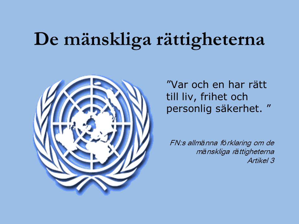 """De mänskliga rättigheterna """"Var och en har rätt till liv, frihet och personlig säkerhet. """" FN:s allm ä nna f ö rklaring om de m ä nskliga r ä ttighete"""