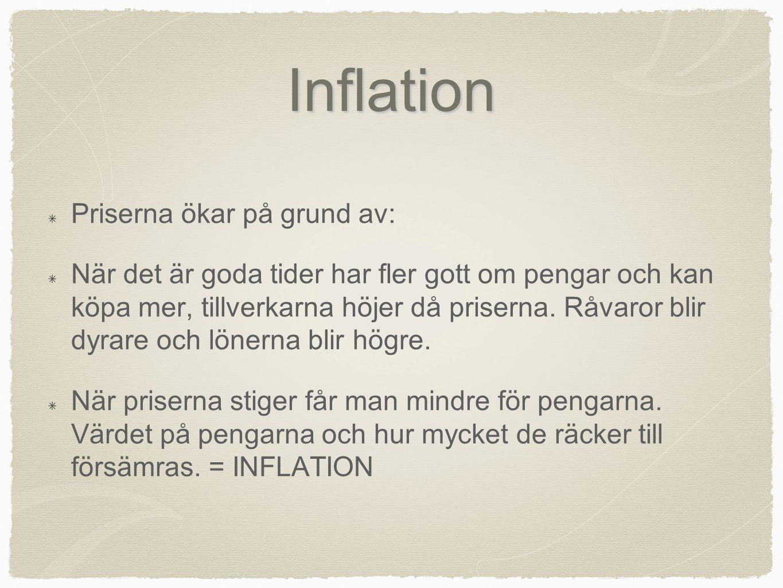 Inflation Priserna ökar på grund av: När det är goda tider har fler gott om pengar och kan köpa mer, tillverkarna höjer då priserna. Råvaror blir dyra
