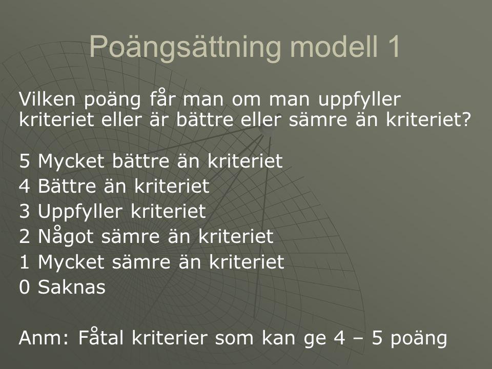 Poängsättning modell 1 Vilken poäng får man om man uppfyller kriteriet eller är bättre eller sämre än kriteriet? 5 Mycket bättre än kriteriet 4 Bättre