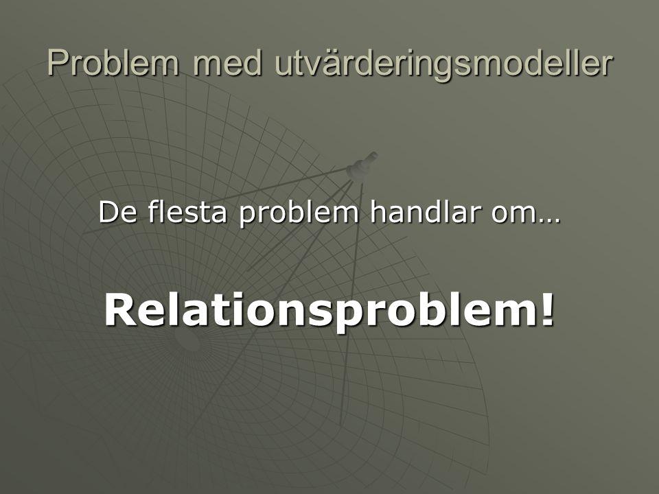 Problem med utvärderingsmodeller De flesta problem handlar om… Relationsproblem!