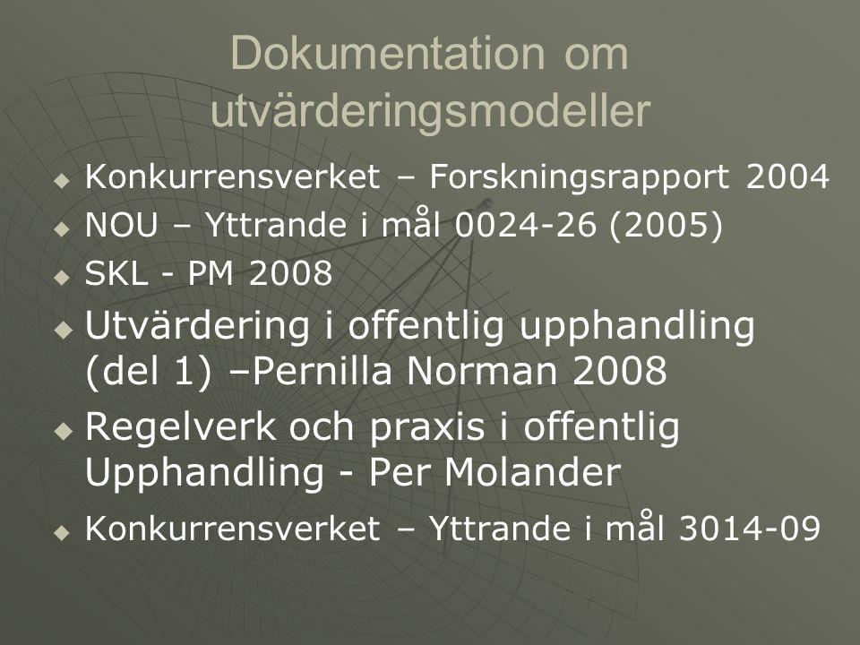 Dokumentation om utvärderingsmodeller   Konkurrensverket – Forskningsrapport 2004   NOU – Yttrande i mål 0024-26 (2005)   SKL - PM 2008   Utvä