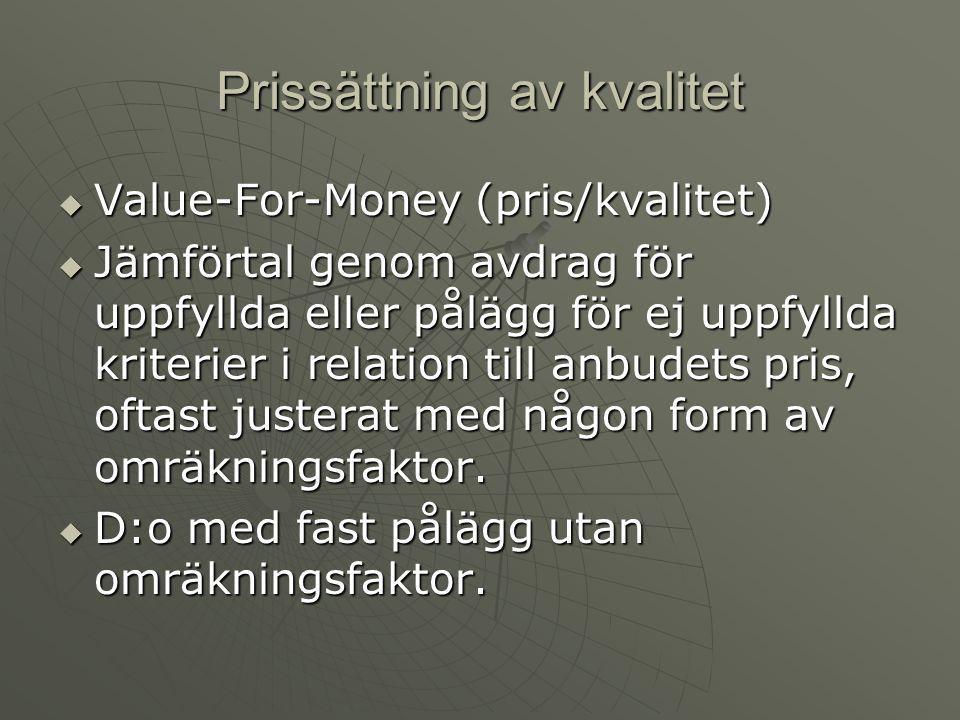 Prissättning av kvalitet  Value-For-Money (pris/kvalitet)  Jämförtal genom avdrag för uppfyllda eller pålägg för ej uppfyllda kriterier i relation till anbudets pris, oftast justerat med någon form av omräkningsfaktor.