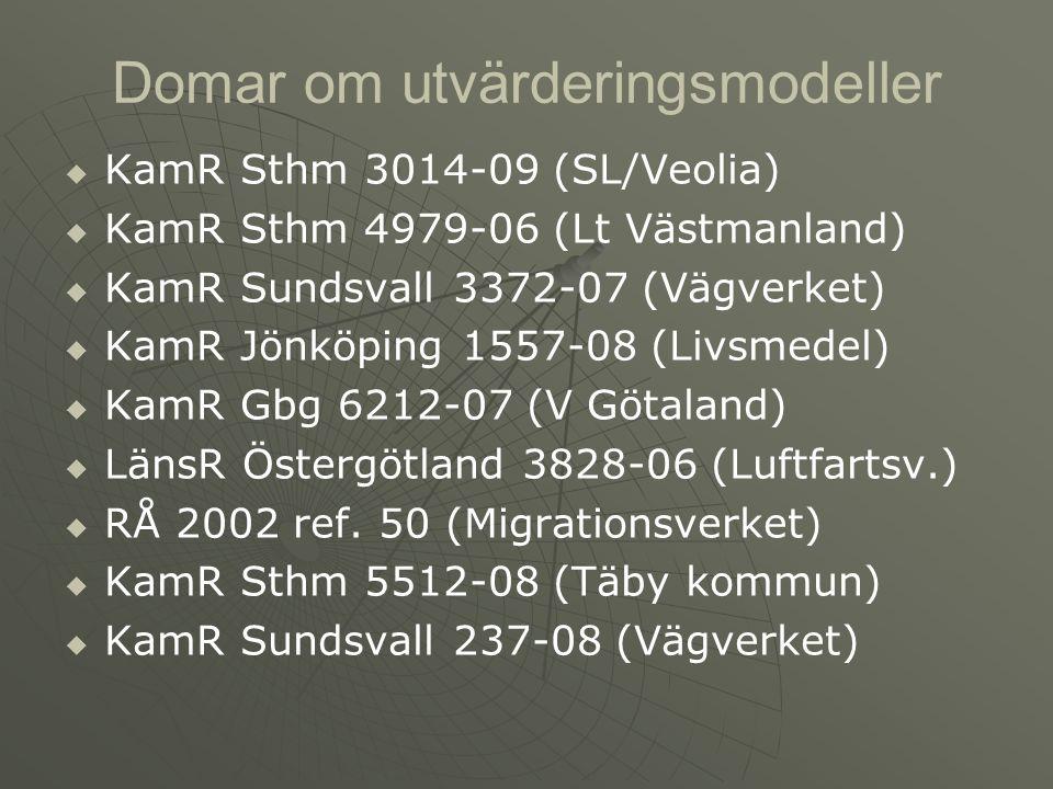 Domar om utvärderingsmodeller   KamR Sthm 3014-09 (SL/Veolia)   KamR Sthm 4979-06 (Lt Västmanland)   KamR Sundsvall 3372-07 (Vägverket)   KamR Jönköping 1557-08 (Livsmedel)   KamR Gbg 6212-07 (V Götaland)   LänsR Östergötland 3828-06 (Luftfartsv.)   RÅ 2002 ref.