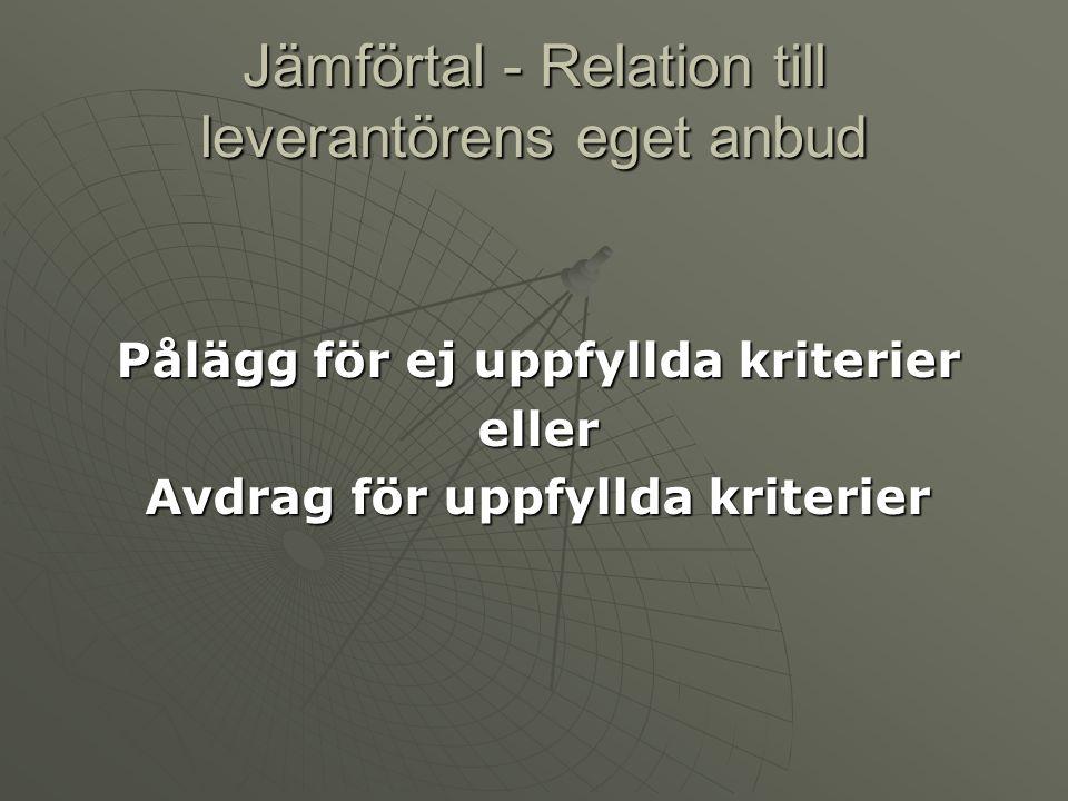 Jämförtal - Relation till leverantörens eget anbud Pålägg för ej uppfyllda kriterier eller Avdrag för uppfyllda kriterier