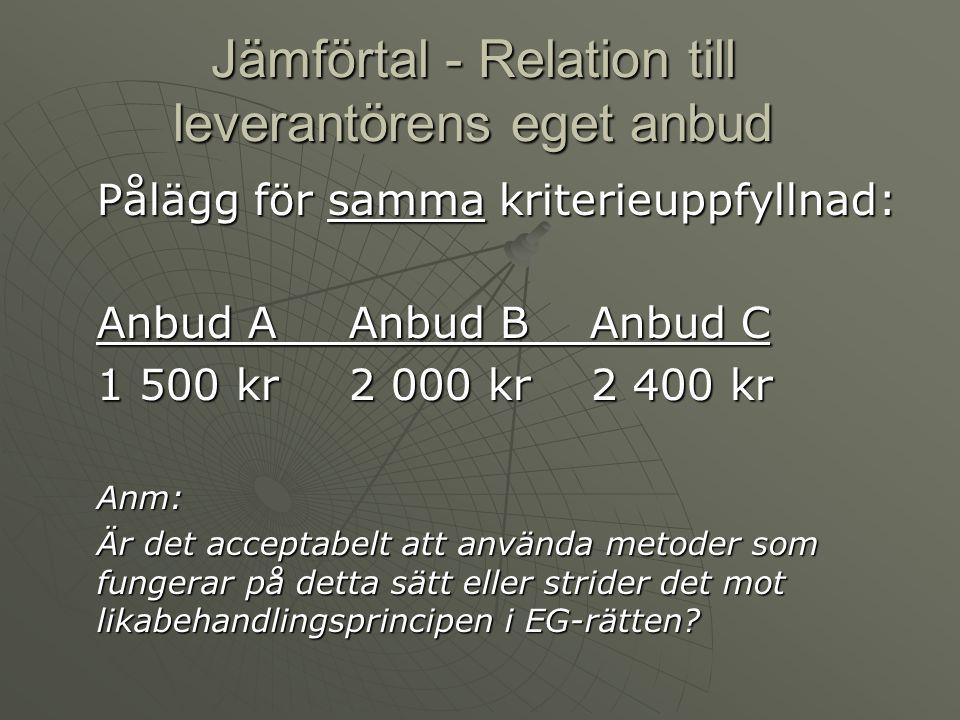Jämförtal - Relation till leverantörens eget anbud Pålägg för samma kriterieuppfyllnad: Anbud A Anbud B Anbud C 1 500 kr 2 000 kr 2 400 kr Anm: Är det