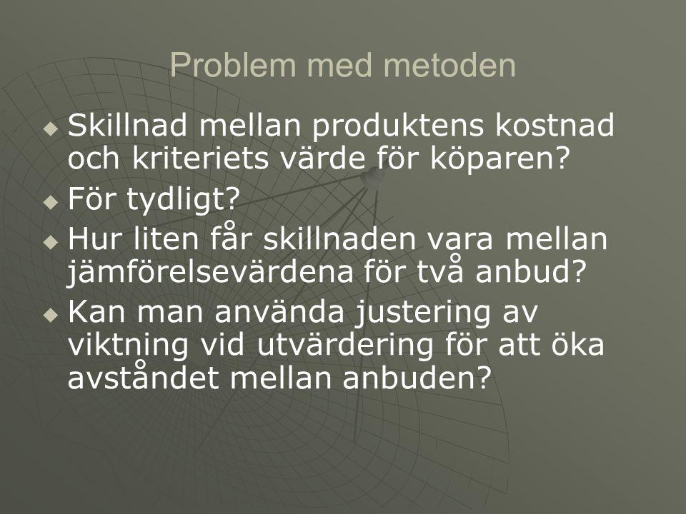 Problem med metoden   Skillnad mellan produktens kostnad och kriteriets värde för köparen.