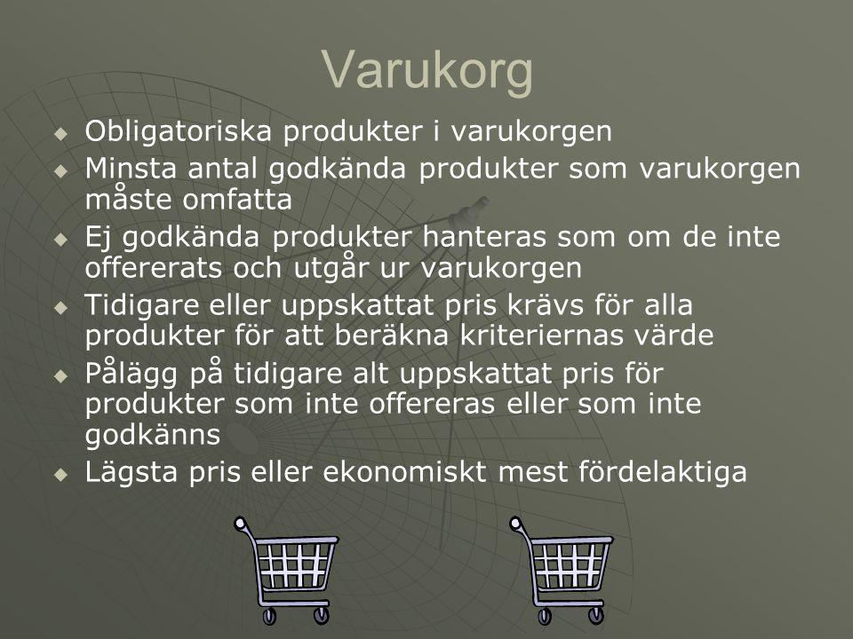 Varukorg   Obligatoriska produkter i varukorgen   Minsta antal godkända produkter som varukorgen måste omfatta   Ej godkända produkter hanteras