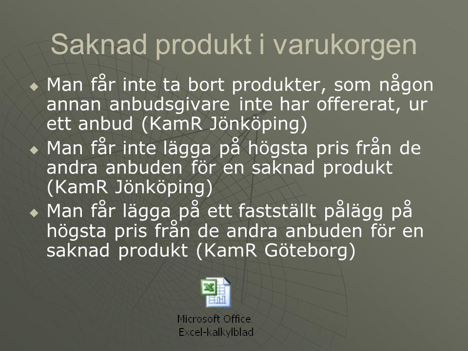 Saknad produkt i varukorgen   Man får inte ta bort produkter, som någon annan anbudsgivare inte har offererat, ur ett anbud (KamR Jönköping)   Man får inte lägga på högsta pris från de andra anbuden för en saknad produkt (KamR Jönköping)   Man får lägga på ett fastställt pålägg på högsta pris från de andra anbuden för en saknad produkt (KamR Göteborg)