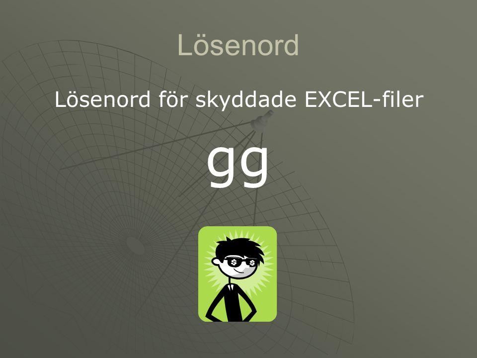 Lösenord Lösenord för skyddade EXCEL-filer gg