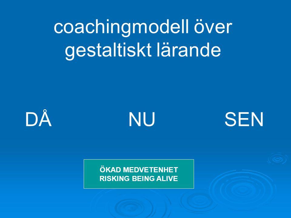 coachingmodell över gestaltiskt lärande DÅ NU SEN ÖKAD MEDVETENHET RISKING BEING ALIVE