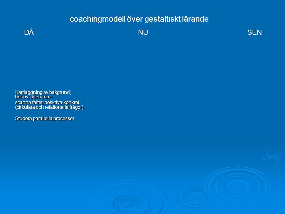 Kartläggning av bakgrund, behov, dilemma – scanna fältet, beskriva konkret (cirkulära och relationella frågor) Studera parallella processer coachingmodell över gestaltiskt lärande DÅNU SEN