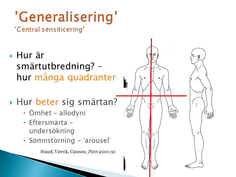 'Generalisering' 'Central sensiticering'  Hur är smärtutbredning.
