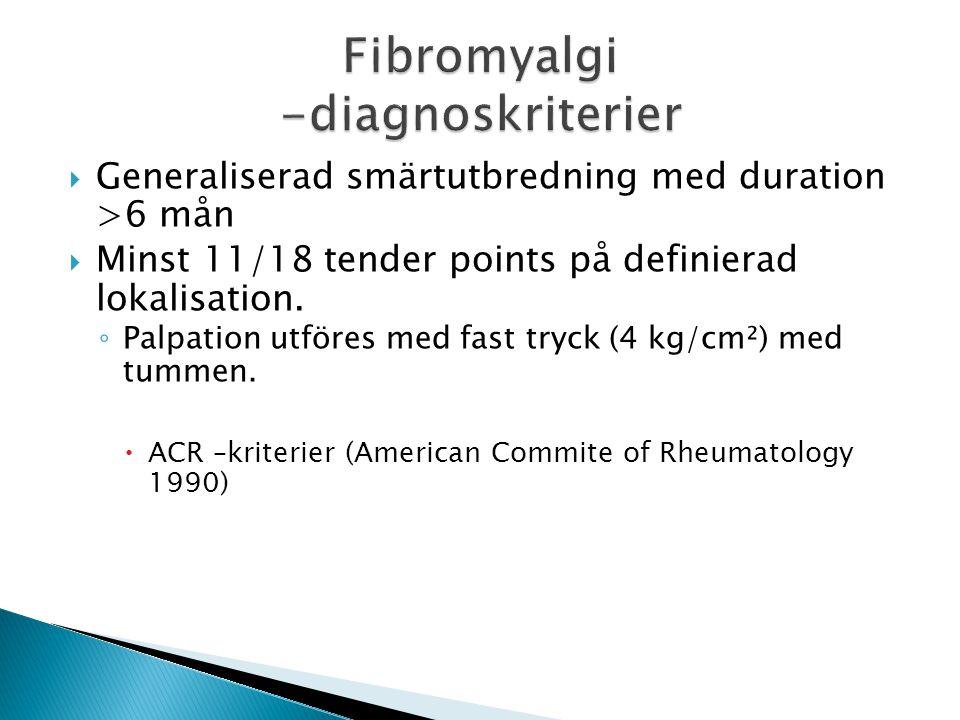  Generaliserad smärtutbredning med duration >6 mån  Minst 11/18 tender points på definierad lokalisation.