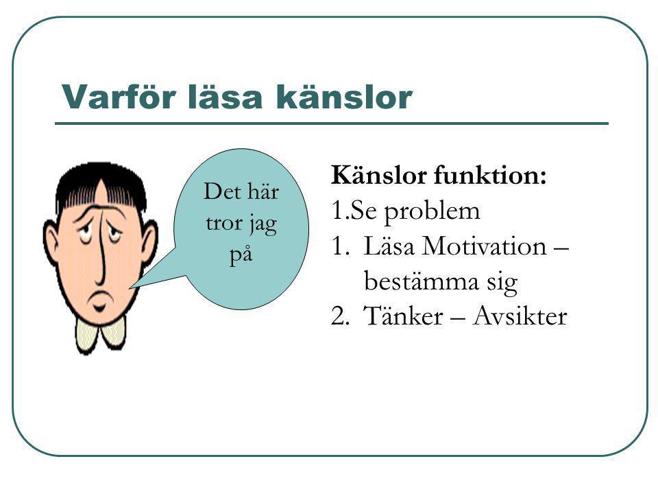 Varför läsa känslor Det här tror jag på Känslor funktion: 1.Se problem 1.Läsa Motivation – bestämma sig 2.Tänker – Avsikter