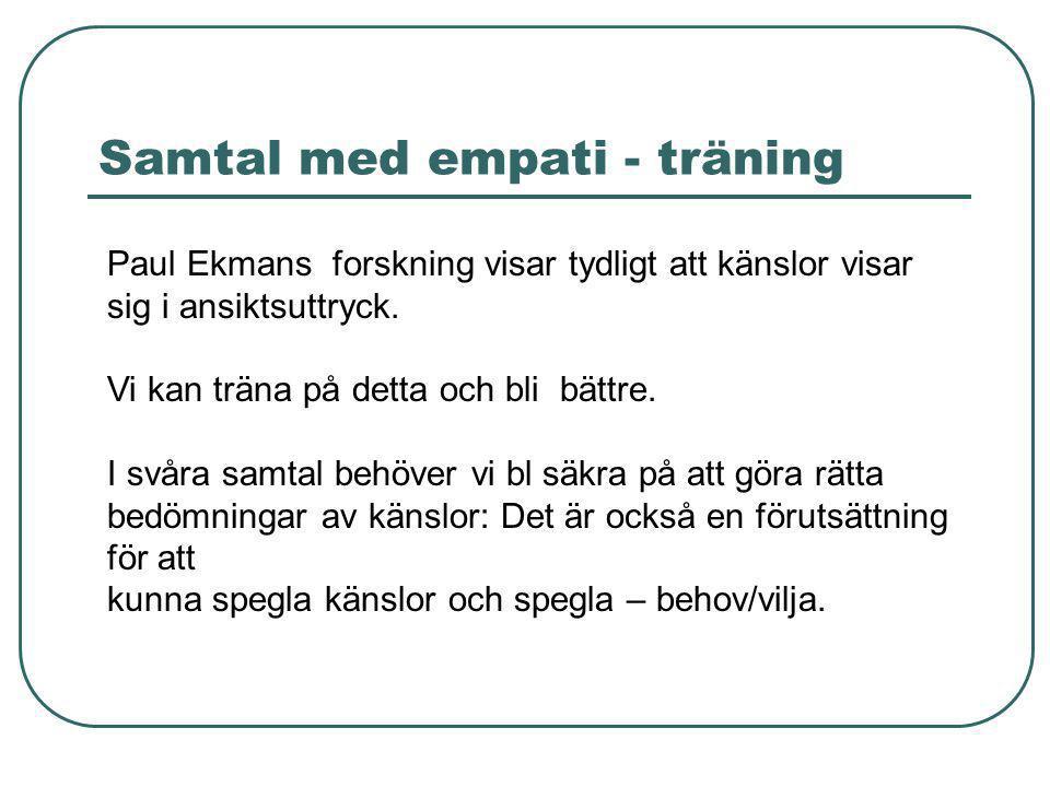 Samtal med empati - träning Paul Ekmans forskning visar tydligt att känslor visar sig i ansiktsuttryck. Vi kan träna på detta och bli bättre. I svåra