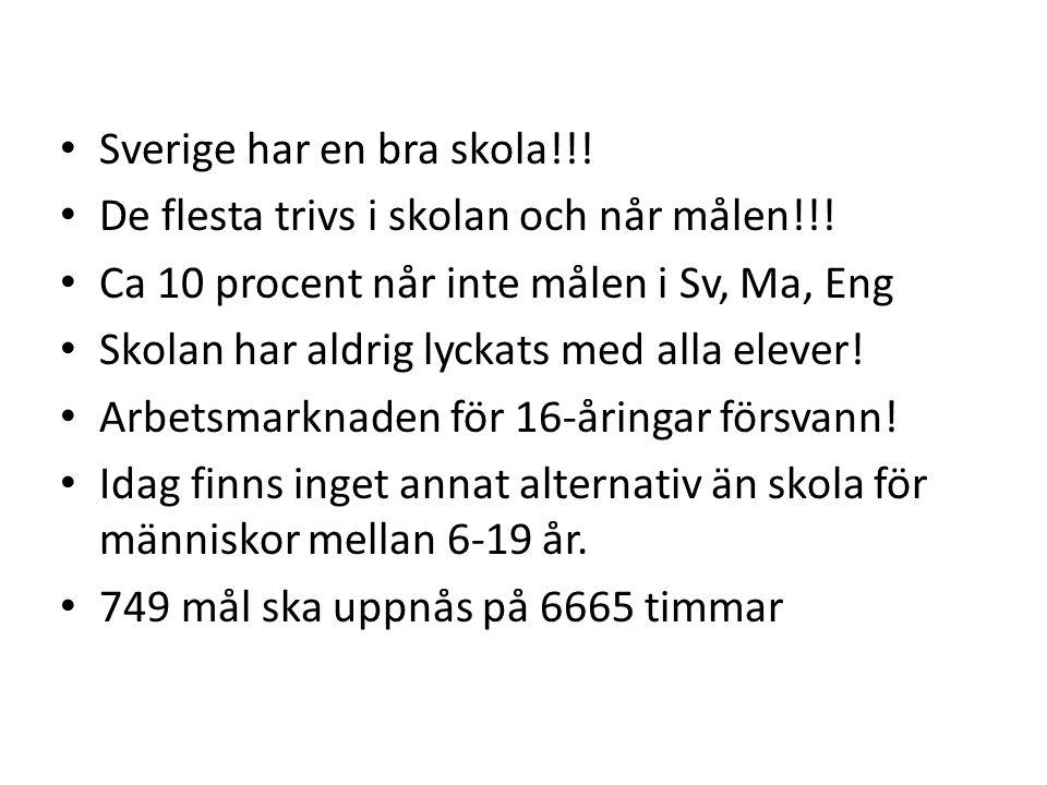 • Sverige har en bra skola!!! • De flesta trivs i skolan och når målen!!! • Ca 10 procent når inte målen i Sv, Ma, Eng • Skolan har aldrig lyckats med