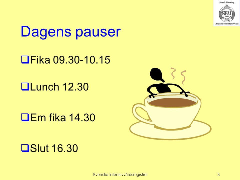 Dagens övning  Presentationsrunda  Vårdtillfällets start  Ankomsttid  Vårdtyper  SAPS3  Svensk APACHE  VTS – NEMS  SOFA  Åtgärder  Diagnoser  Komplikationer  Probleminventering.
