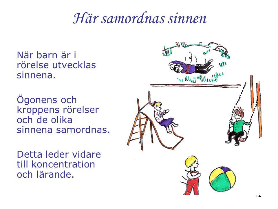 12 Här samordnas sinnen När barn är i rörelse utvecklas sinnena. Ögonens och kroppens rörelser och de olika sinnena samordnas. Detta leder vidare till