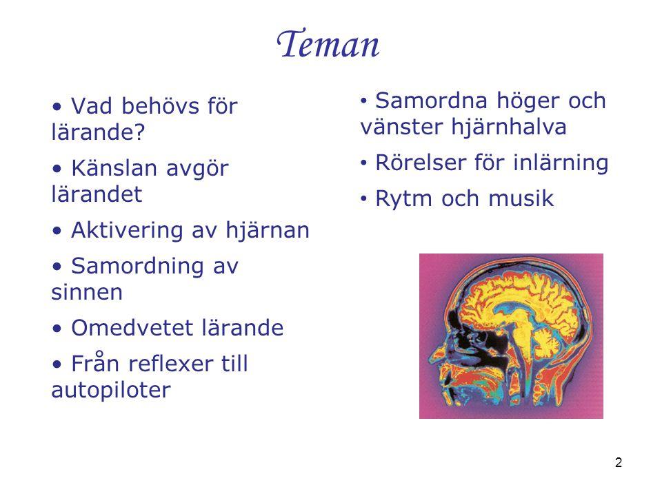 2 Teman • Vad behövs för lärande? • Känslan avgör lärandet • Aktivering av hjärnan • Samordning av sinnen • Omedvetet lärande • Från reflexer till aut
