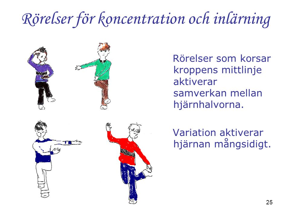 25 Rörelser för koncentration och inlärning Rörelser som korsar kroppens mittlinje aktiverar samverkan mellan hjärnhalvorna. Variation aktiverar hjärn