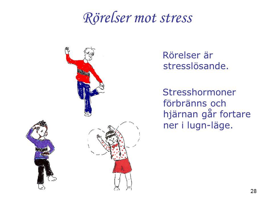 28 Rörelser mot stress Rörelser är stresslösande. Stresshormoner förbränns och hjärnan går fortare ner i lugn-läge.