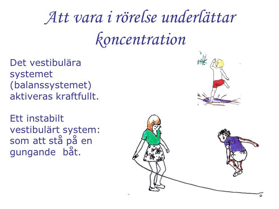 9 Att vara i rörelse underlättar koncentration Det vestibulära systemet (balanssystemet) aktiveras kraftfullt. Ett instabilt vestibulärt system: som a