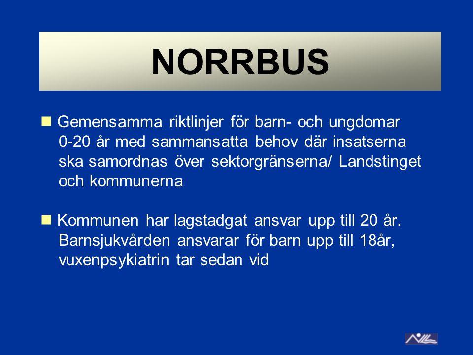 NORRBUS  Gemensamma riktlinjer för barn- och ungdomar 0-20 år med sammansatta behov där insatserna ska samordnas över sektorgränserna/ Landstinget oc