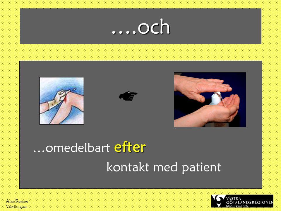 Aino Kempe Vårdhygien ….och efter …omedelbart efter kontakt med patient