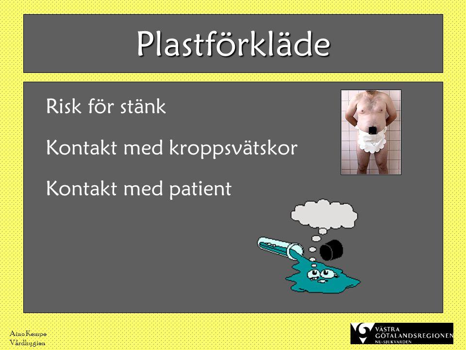 Aino Kempe Vårdhygien Plastförkläde Risk för stänk Kontakt med kroppsvätskor Kontakt med patient