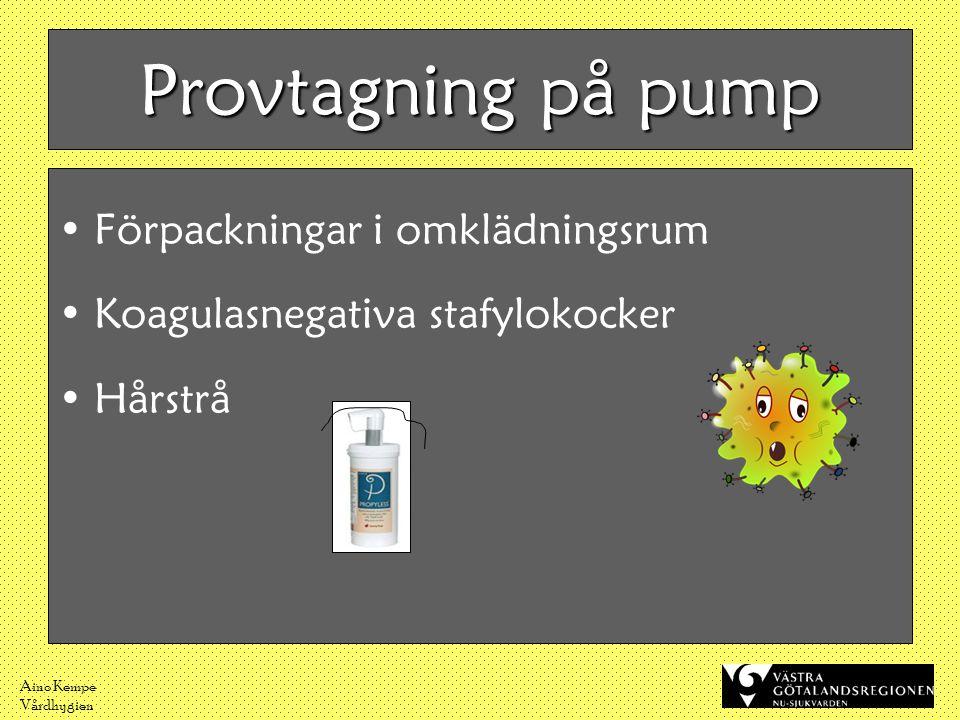 Aino Kempe Vårdhygien Provtagning på pump •Förpackningar i omklädningsrum •Koagulasnegativa stafylokocker •Hårstrå