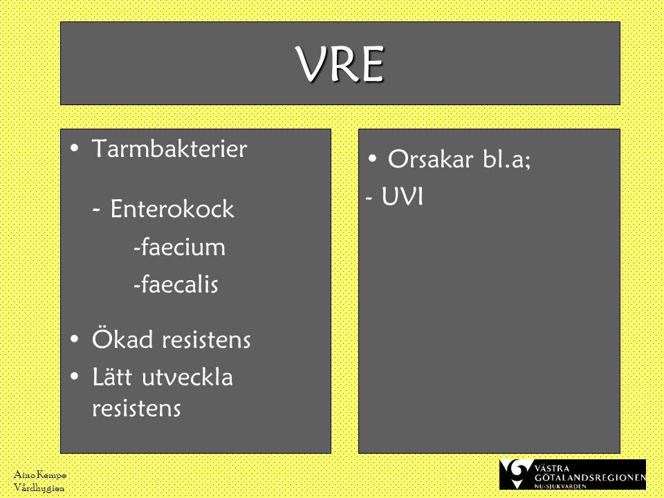 Aino Kempe Vårdhygien VRE •Tarmbakterier - Enterokock -faecium -faecalis •Ökad resistens •Lätt utveckla resistens • Orsakar bl.a; - UVI