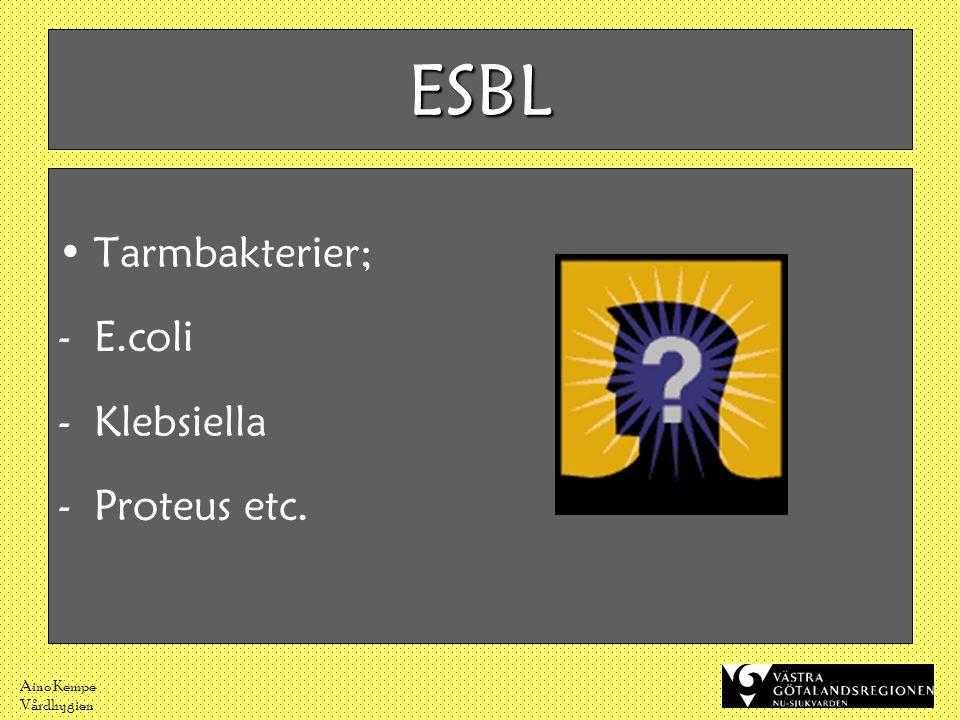 Aino Kempe Vårdhygien •Tarmbakterier; -E.coli -Klebsiella -Proteus etc. ESBL