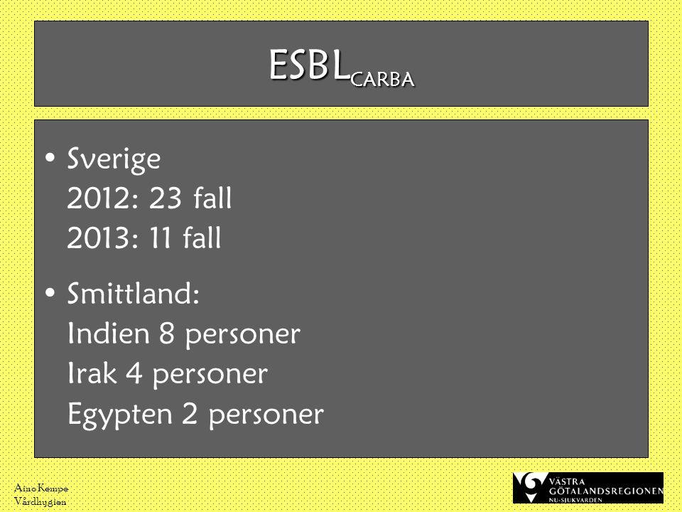 Aino Kempe Vårdhygien •Sverige 2012: 23 fall 2013: 11 fall •Smittland: Indien 8 personer Irak 4 personer Egypten 2 personer ESBL CARBA