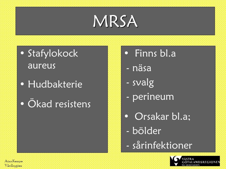 Aino Kempe Vårdhygien MRSA •Stafylokock aureus •Hudbakterie •Ökad resistens •Finns bl.a - näsa - svalg - perineum •Orsakar bl.a; - bölder - sårinfekti