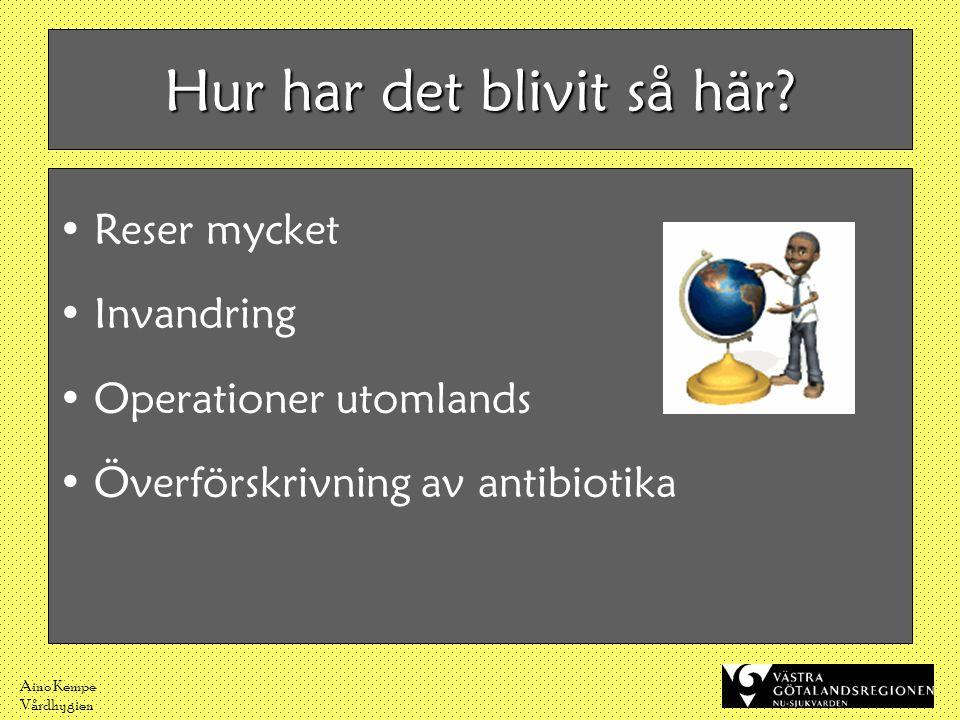 Aino Kempe Vårdhygien Hur har det blivit så här? •Reser mycket •Invandring •Operationer utomlands •Överförskrivning av antibiotika