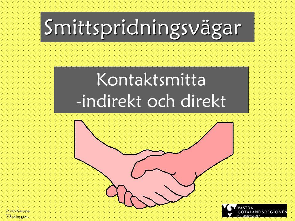 Aino Kempe Vårdhygien Kontaktsmitta -indirekt och direkt Smittspridningsvägar