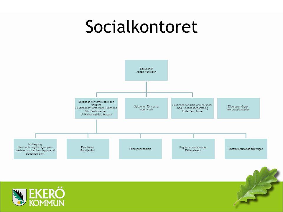 Socialkontoret Socialchef Johan Pehrsson Sektionen för familj, barn och ungdom Sektionschef Britt-Marie Fransson Bitr. Sektionschef: Ulrika Kannebäck