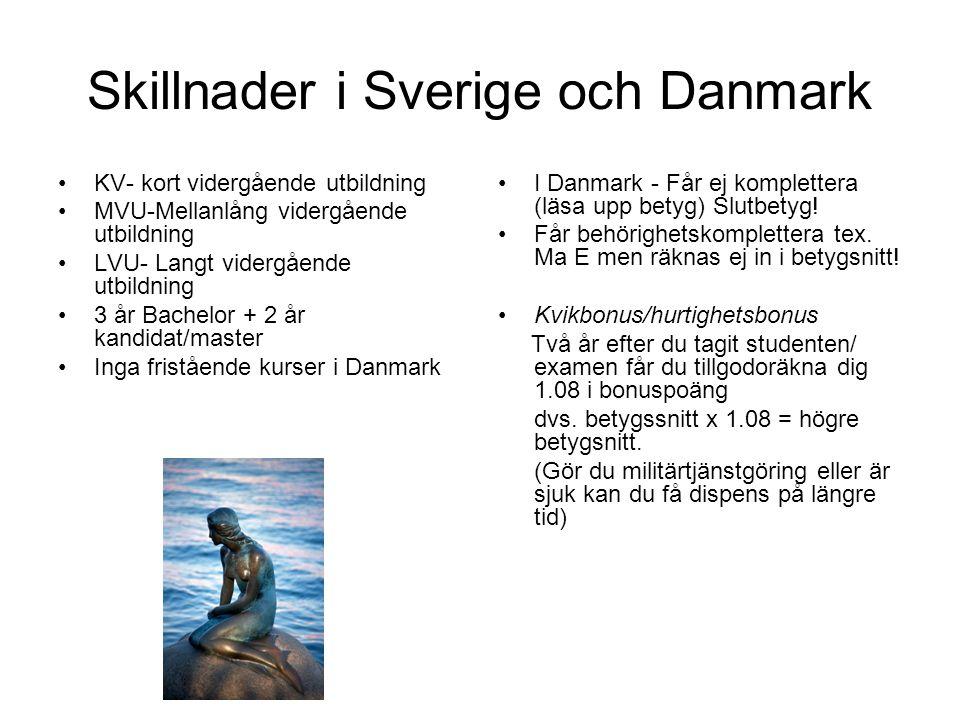 Ansökan till Danmark •Ansökan via www.optagelse.dk - öppnar den 1 februariwww.optagelse.dk •Ska vara inne senast den 15/3 kl.12.00 •Antagningsbesked 30/7 och du måste svara ja eller nej inom den tidsfrist som står i brevet.