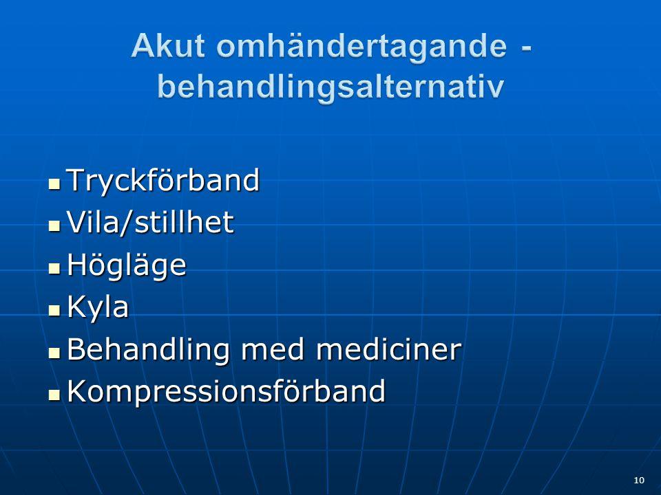  Tryckförband  Vila/stillhet  Högläge  Kyla  Behandling med mediciner  Kompressionsförband 10