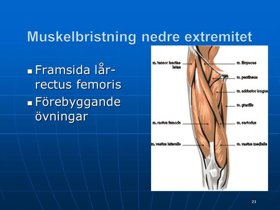  Framsida lår- rectus femoris  Förebyggande övningar 21