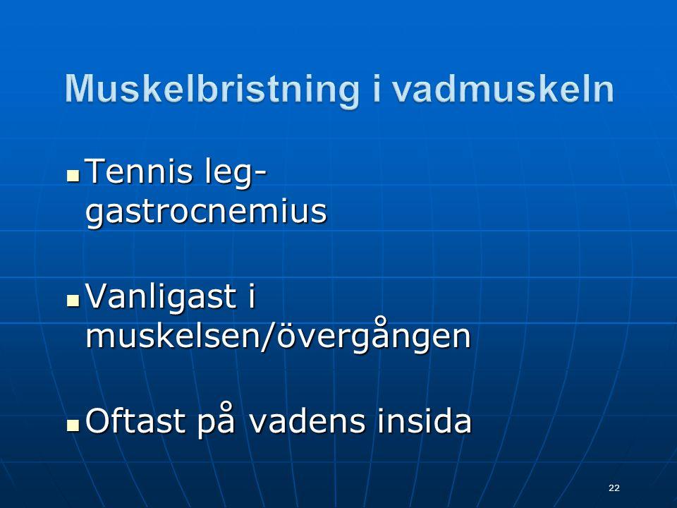  Tennis leg- gastrocnemius  Vanligast i muskelsen/övergången  Oftast på vadens insida 22