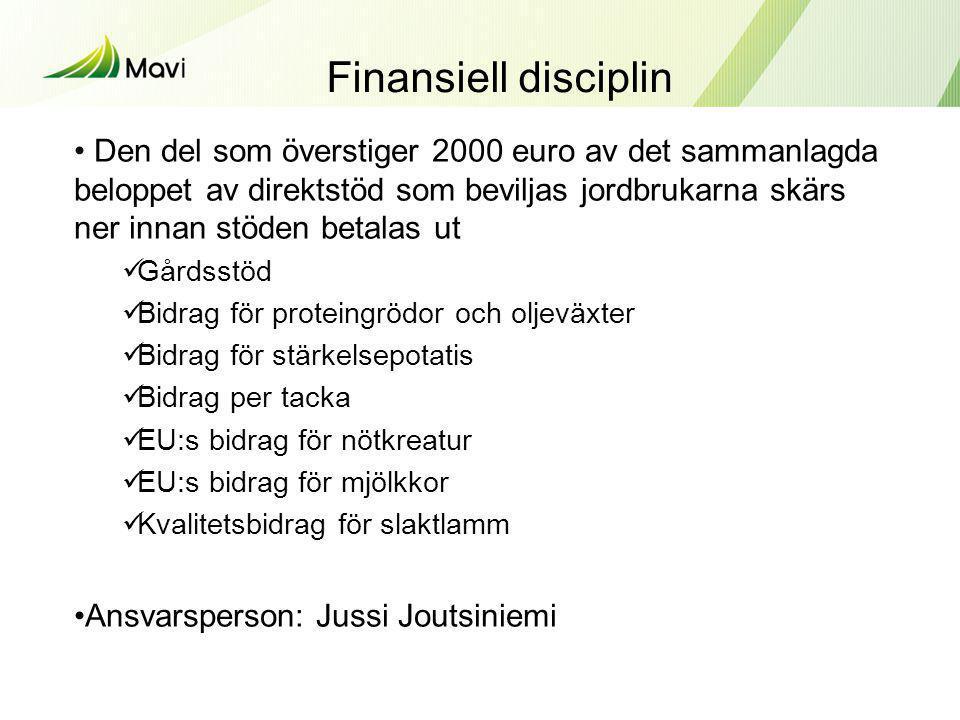Finansiell disciplin • Den del som överstiger 2000 euro av det sammanlagda beloppet av direktstöd som beviljas jordbrukarna skärs ner innan stöden bet